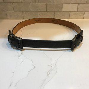 Worth Black Ostrich Embossed Belt.  NWT.  Size M